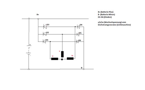 Wie verstehe ich den Gleichrichter einer Lichtmaschine richtig ...