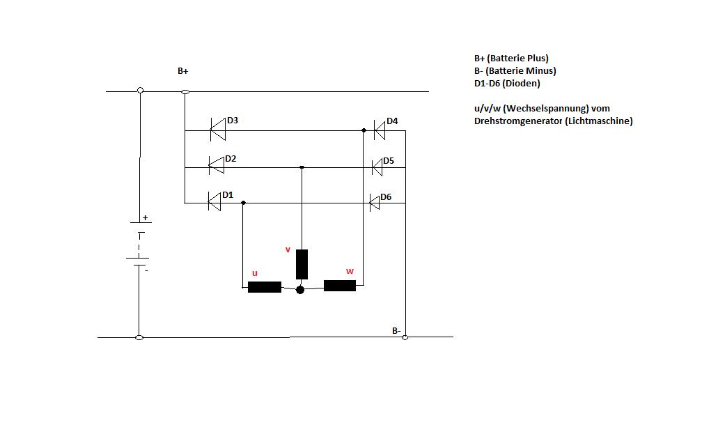 wie verstehe ich den gleichrichter einer lichtmaschine. Black Bedroom Furniture Sets. Home Design Ideas