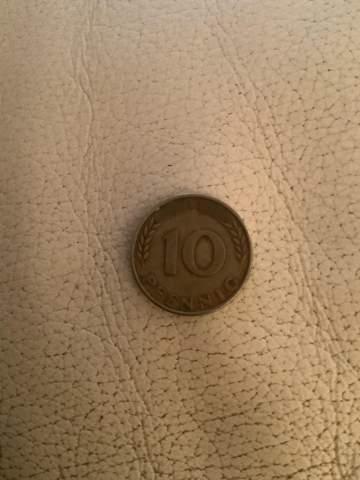 Wie viel könnte diese 10 Pfennig Münze von 1950 F ungefähr wert sein?