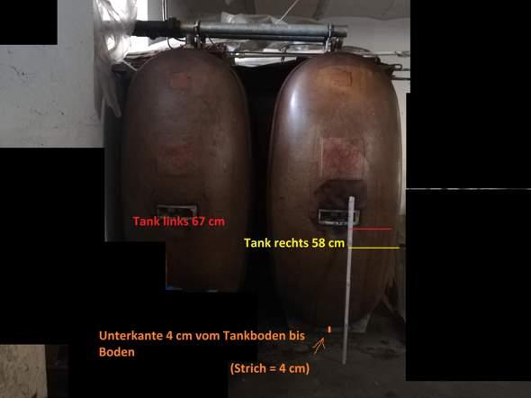Wie viel Liter Heizöl sind in diesen 2 Tanks drin? Und muss man, wenn ja inwiefern, Ölschlamm abziehen vom eigentlichen Heizöl-Tankinhalt?