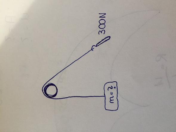 Wie viel Masse bei Kraft 300 N über Rolle um 1 m angehoben?