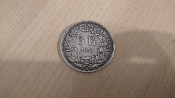 Wie Viel Wert Hat Die 5 Schweizer Franken Münze Aus Dem Jahre 1851
