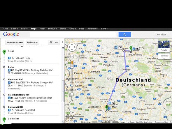 Route von Maps! - (Preis, Bahn, Route)