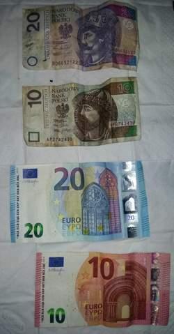 Wie wahrscheinlich ist es, erst einen 10er + 20er Euro und hinterher noch einen 10er und 20er Zloty zu finden? Befinden wir uns in einer Matrix, oder Zufall?