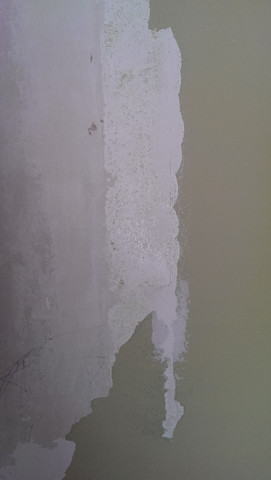 Übergang Farbschicht Gipsbetonwand 2 - (Handwerk, malen, Malerarbeiten)