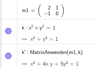 Wie wendet GeoGebra die Matrix auf eine Gleichung an?