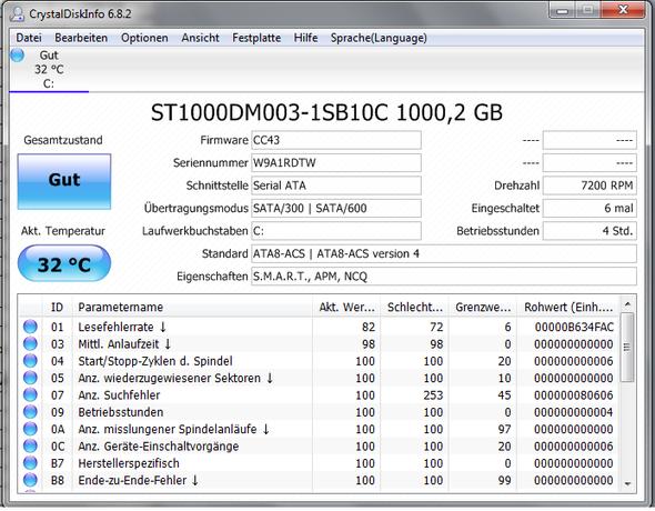 Aufgelistete Spezifikation der Festplatte - (Computer, Gaming, Hardware)