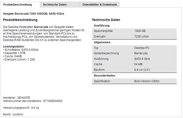 Angegebene Spezifikationen der Festplatte  - (Computer, Gaming, Hardware)