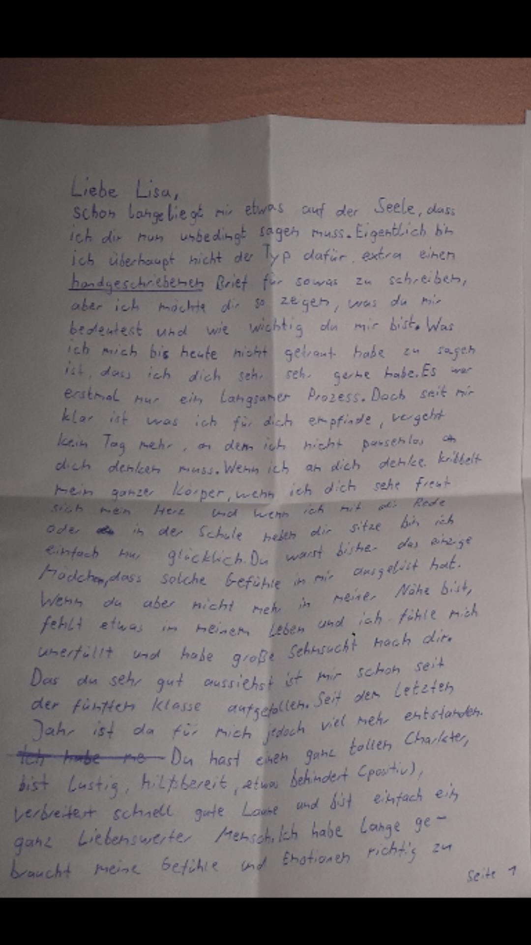 Wie würdet ihr als Mädchen diesen Liebesbrief finden