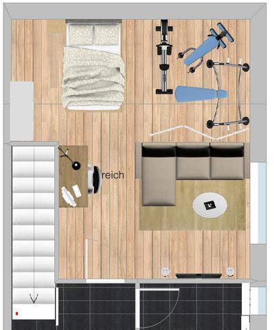 wie w rdet ihr den raum einrichten 2 varianten fitness. Black Bedroom Furniture Sets. Home Design Ideas