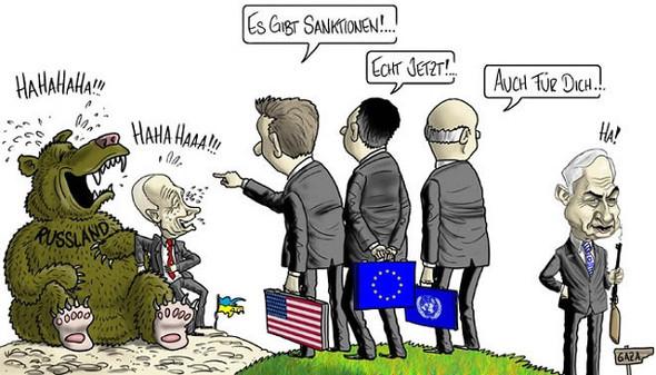 Russland-Ukraine-Sanktionen - (Politik, Karikatur)