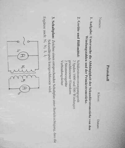 Wie zeichnet man einen Schaltplan zur Ermittlung der Abhängigkeit von Sekundärstromstärke, Windungszahlen und Primärstromstärke.....?