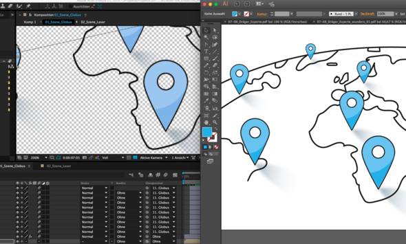 Illustrator rechts - AfterEffects links - (Animation, digital, after-effects)