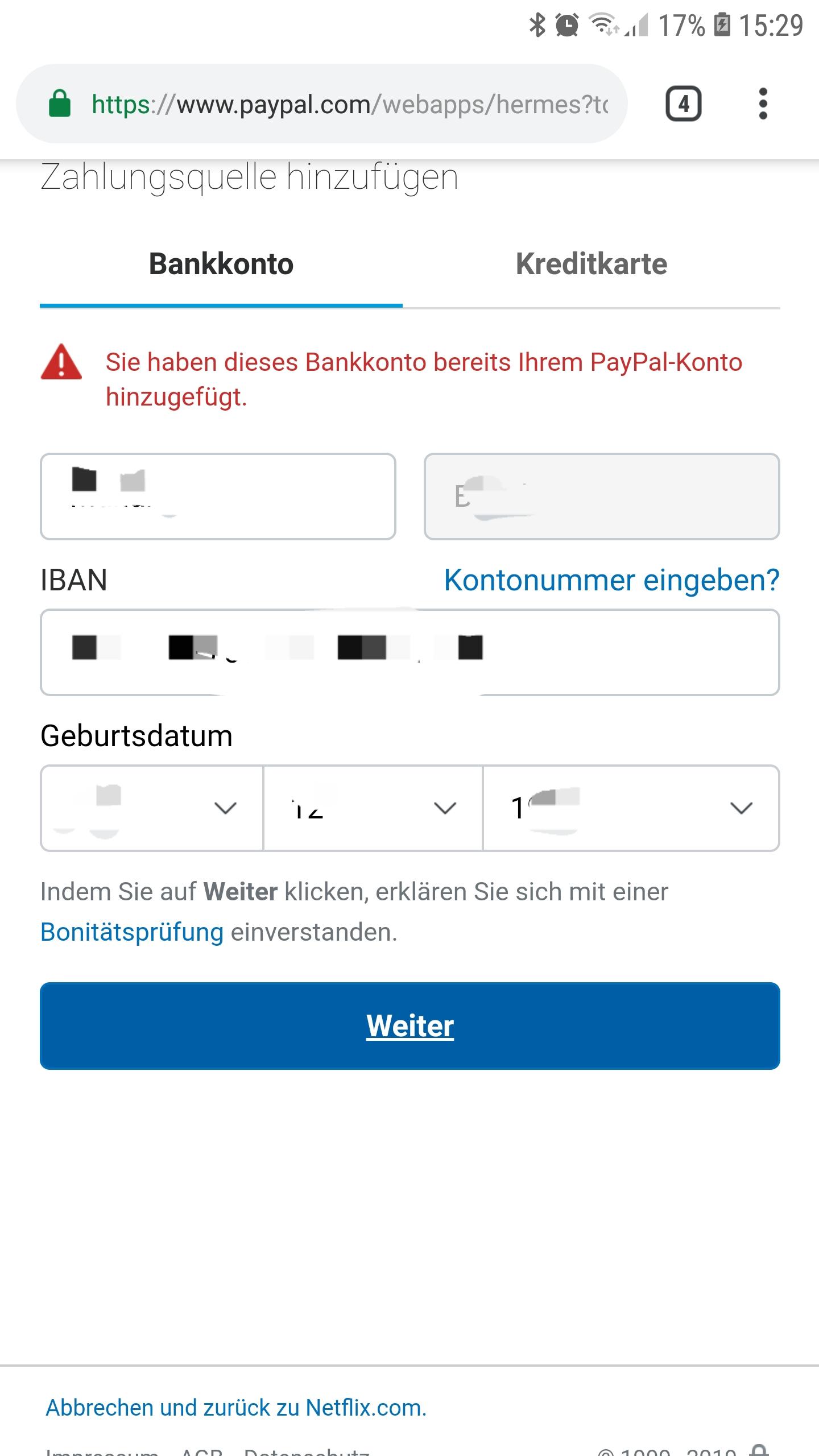 Paypal Bankkonto Hinzufügen