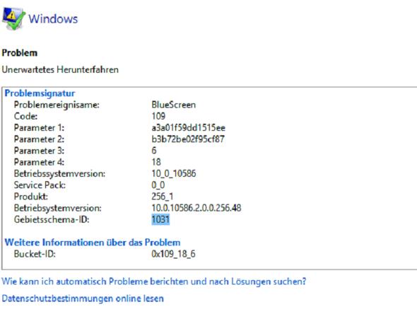 Fehlermeldung - (PC, Windows, Bluescreen)