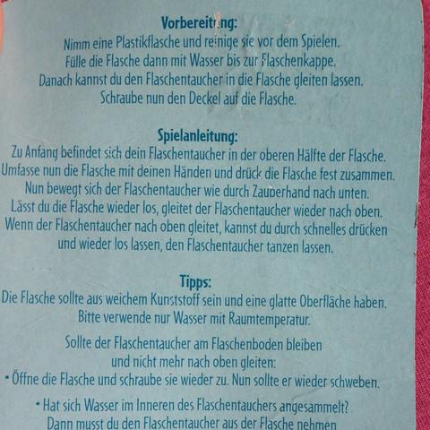 Anleitung  - (Wasser, Spielzeug, Flasche)
