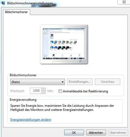 Meine Bildschirmschoner Einstellungen - (Computer, Windows 7, Monitor)