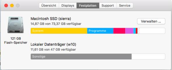 Über diesen Mac - Bildschirmfoto - (Festplatte, MacBook, Speicher)