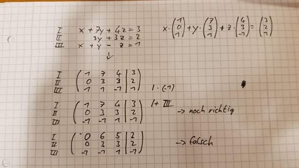 Wieso ist mit dem Gauss Verfahren eine Umformung falsch?