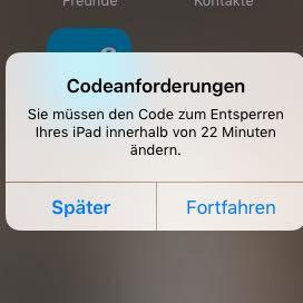 Diese Meldung kommt - (iPad, Code)