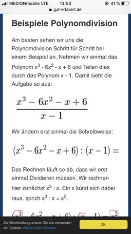 Wieso teilt man das durch x-1?