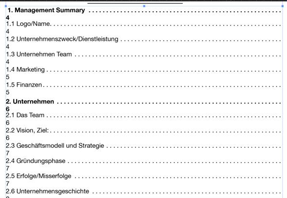 Wieso verrutscht im Inhaltsverzeichnis die Seitenzahl?