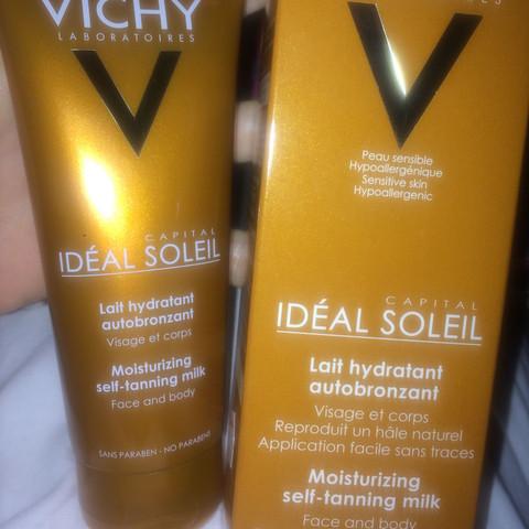 Links das Produkt und rechts die Verpackung  - (Selbstbräuner, Vichy, Selbstbräunermilch)