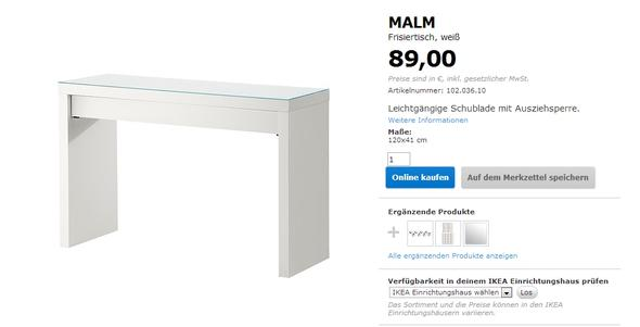 wieviele antonius eins tze braucht man f r den malm frisiertisch ikea schminktisch. Black Bedroom Furniture Sets. Home Design Ideas