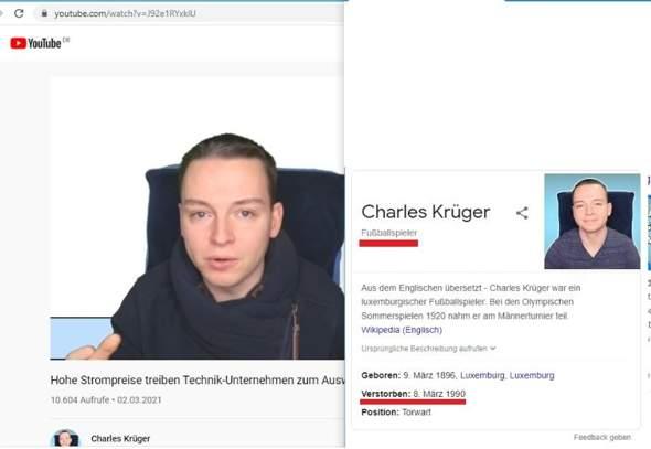 Wikipedia Charles Krüger YouTube?