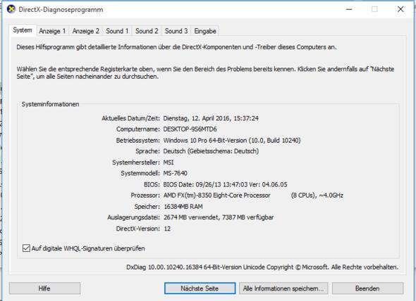 Systeminformationen - (RAM, Win10, Komplett verwenden)
