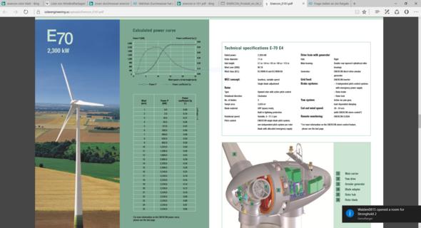 Offizielle angaben zur Enercon E-70 - (Fläche, turm, Windkraftanlage)