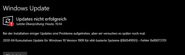 Windoof 10 Update Fehler 0x80073701?