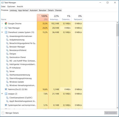 Windows 10 100% CPU Auslastung auf Desktop mit i7 6700HQ Diensthost wsappx usw ?