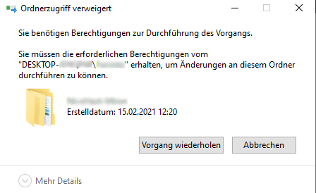 Windows 10 Ordner lässt sich nicht löschen?
