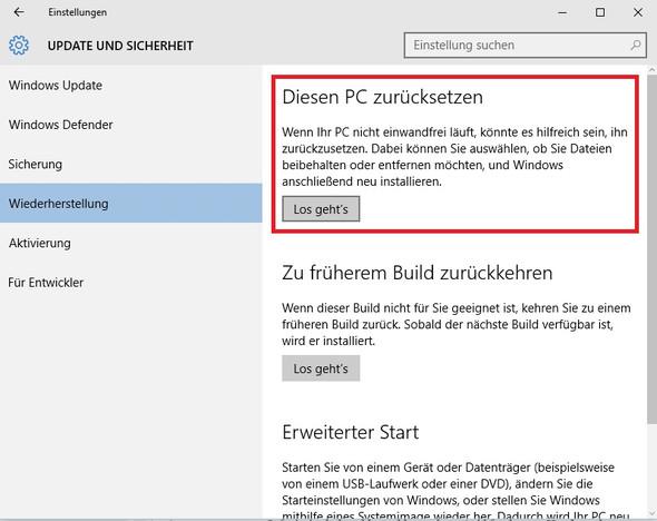Einstellungen - Wiederherstellung - (Computer, PC, Windows)