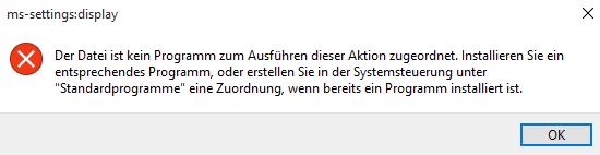 Fehlermeldung, Anzeigeeinstellungen - (Computer, PC, Windows)