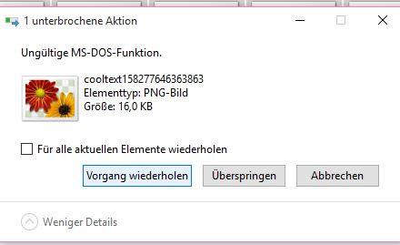 Das ist der Fehler der jedes mal kommt - (Windows, löschen, Datei)