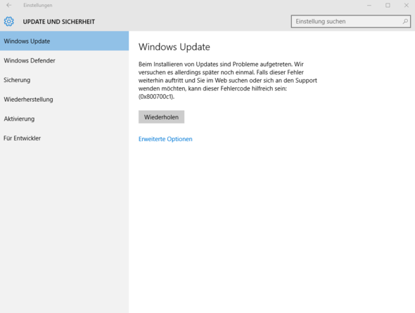 Fehlermeldung - (PC, Windows 10, fehlercode)