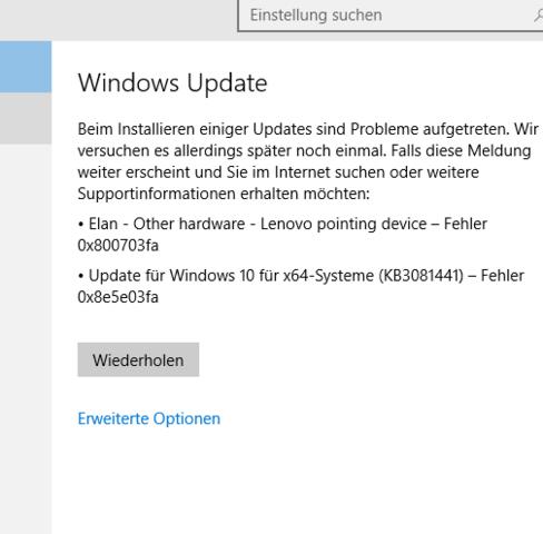 So siehts aus - (Fehler, Update, Windows 10)