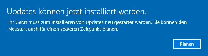 windows 10 wie kann ich das updates k nnen jetzt installiert werden popup dauerhaft. Black Bedroom Furniture Sets. Home Design Ideas