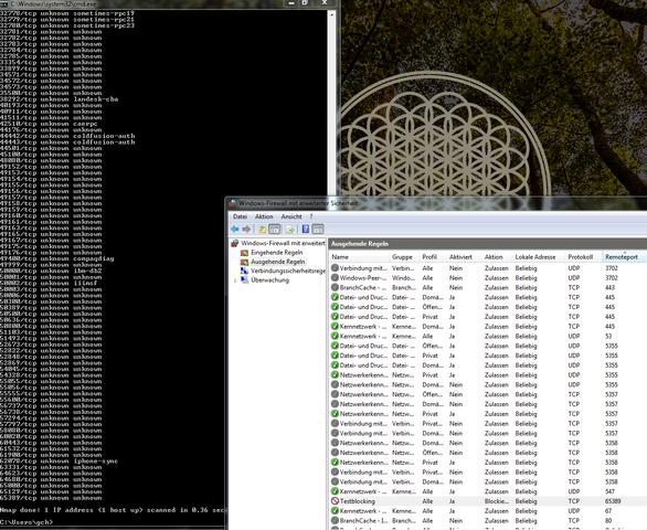 Hier die Ports Unknown, Iphonesynch und der gesperrte Port 65389 - (Windows 7, Port, Firewall)