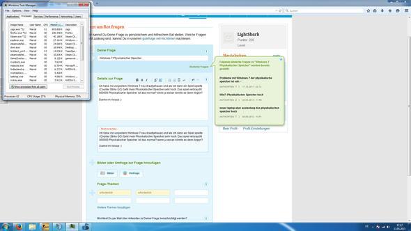 Task Manager - (Windows 7, physikalischer speicher)