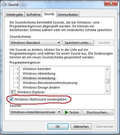 Bildnachweis: Startsound lässt sich nur mit Haken aktivieren - (Computer, Windows, Windows 7)
