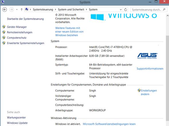 Systemdaten - (PC, Windows, Windows 8)