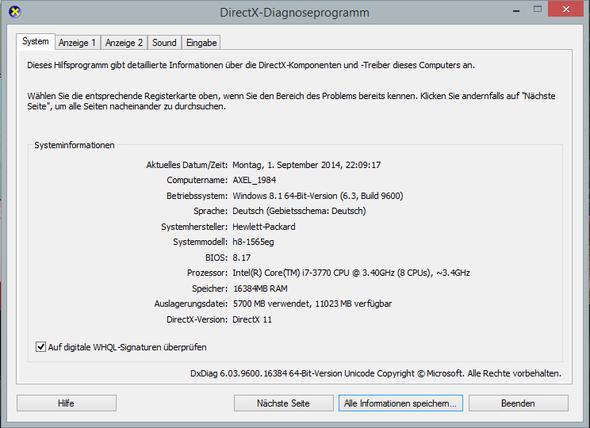 dxdiag Bild 1 - (Treiber, Ton, Windows 8.1)
