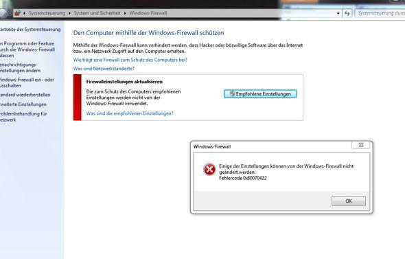 Fehlercode 0x80070422 - (Windows 7, Firewall)