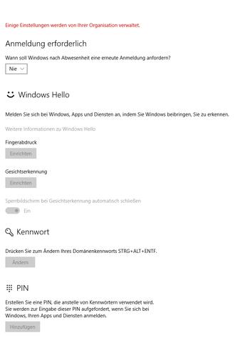 Einstellungen im Bereich Windows Hello. - (Windows, hp, Windows Hello)