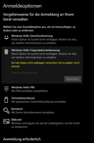 Windows Hello derzeitig nicht verfügbar?