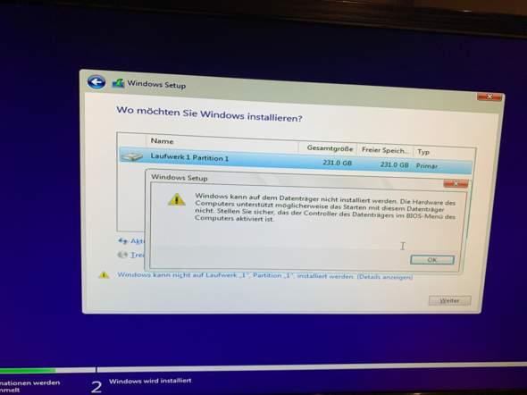 Windows Kann Nicht Auf Dem Datenträger Installiert Werden