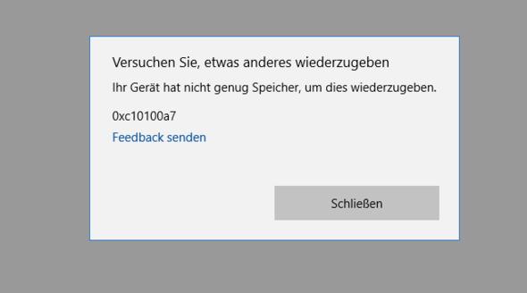 Windows Filme&TV Fehler - (Computer, Windows, Windows 10)